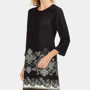 Vince Camuto Dress Shift Black Paisley Floral Sz 8